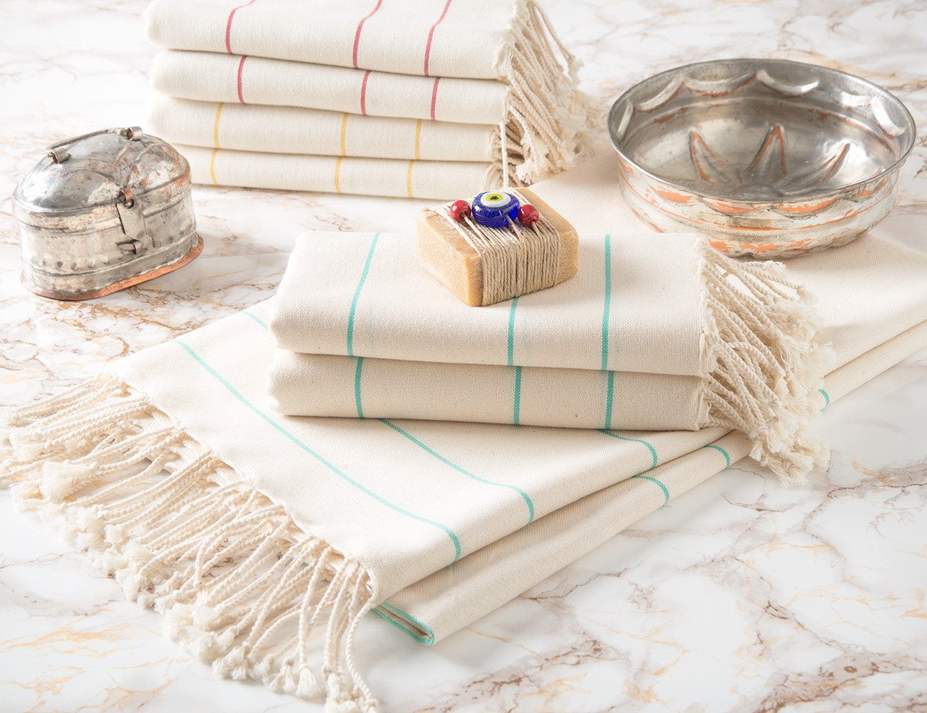 Set of 6 Peshtemal Towels 100% Natural Cotton