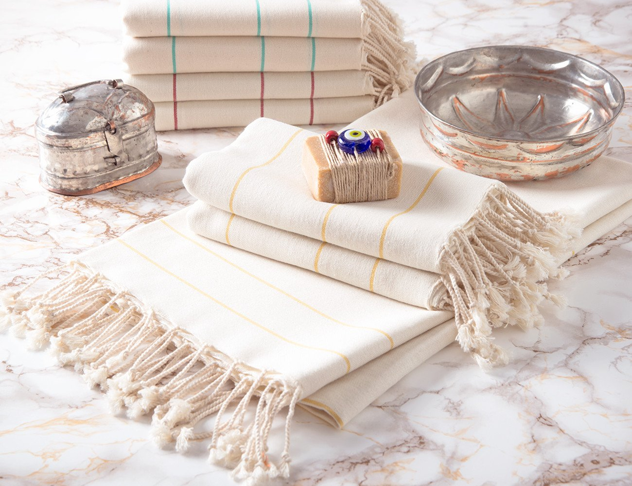 Set of 8 Peshtemal Towels 100% Natural Cotton