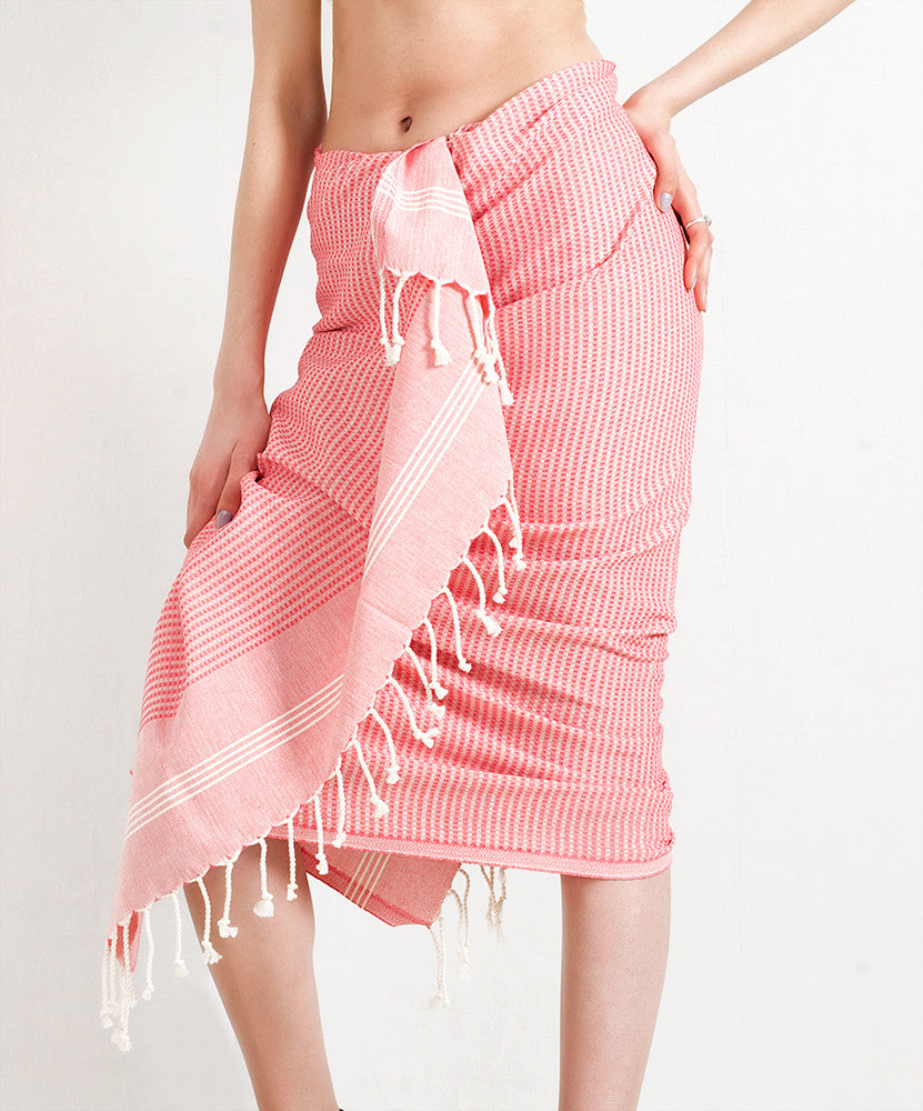 Coral Red Striped Pure Natural Cotton Turkish Towel with Special Weave