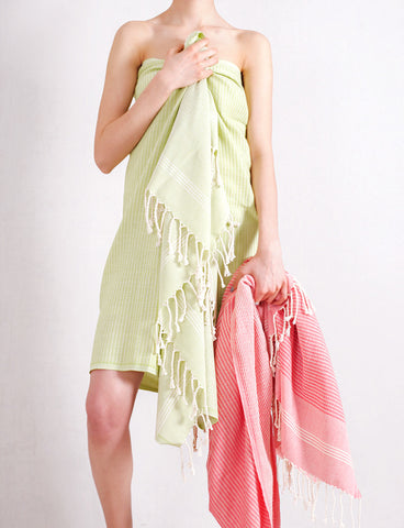 Green Striped Pure Natural Cotton Turkish Towel with Special Weave