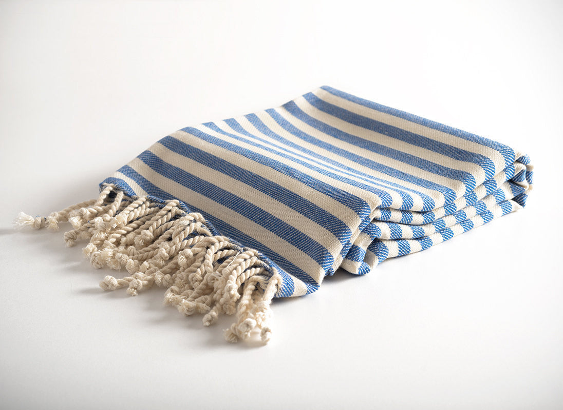 Blue Striped Pure Natural Cotton Turkish Towel