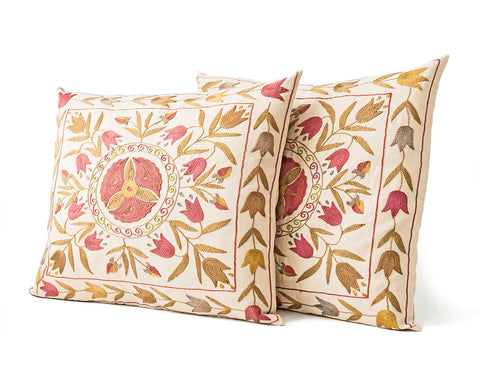 Set of 2 / Silk Suzani Pillow / Uzbek / 45 X 45 cm