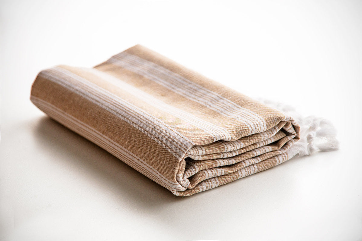 Beige Striped Pure Natural Cotton Turkish Beach Towel with Ultra Thin Fabric