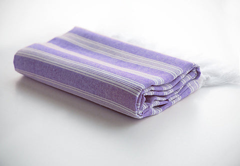 Purple Striped Pure Natural Cotton Turkish Beach Towel with Ultra Thin Fabric