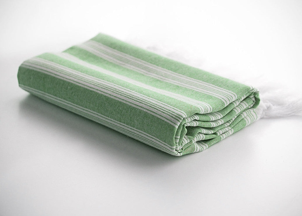 Green Striped Pure Natural Cotton Turkish Beach Towel with Ultra Thin Fabric