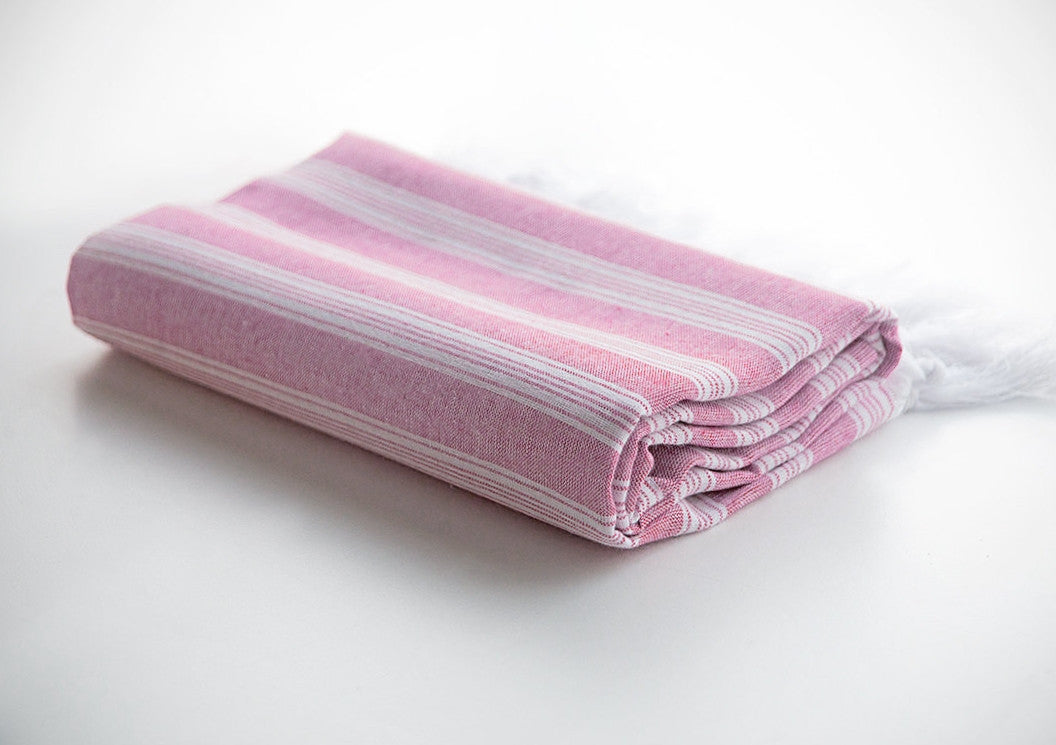 Pink Striped Pure Natural Cotton Turkish Beach Towel with Ultra Thin Fabric