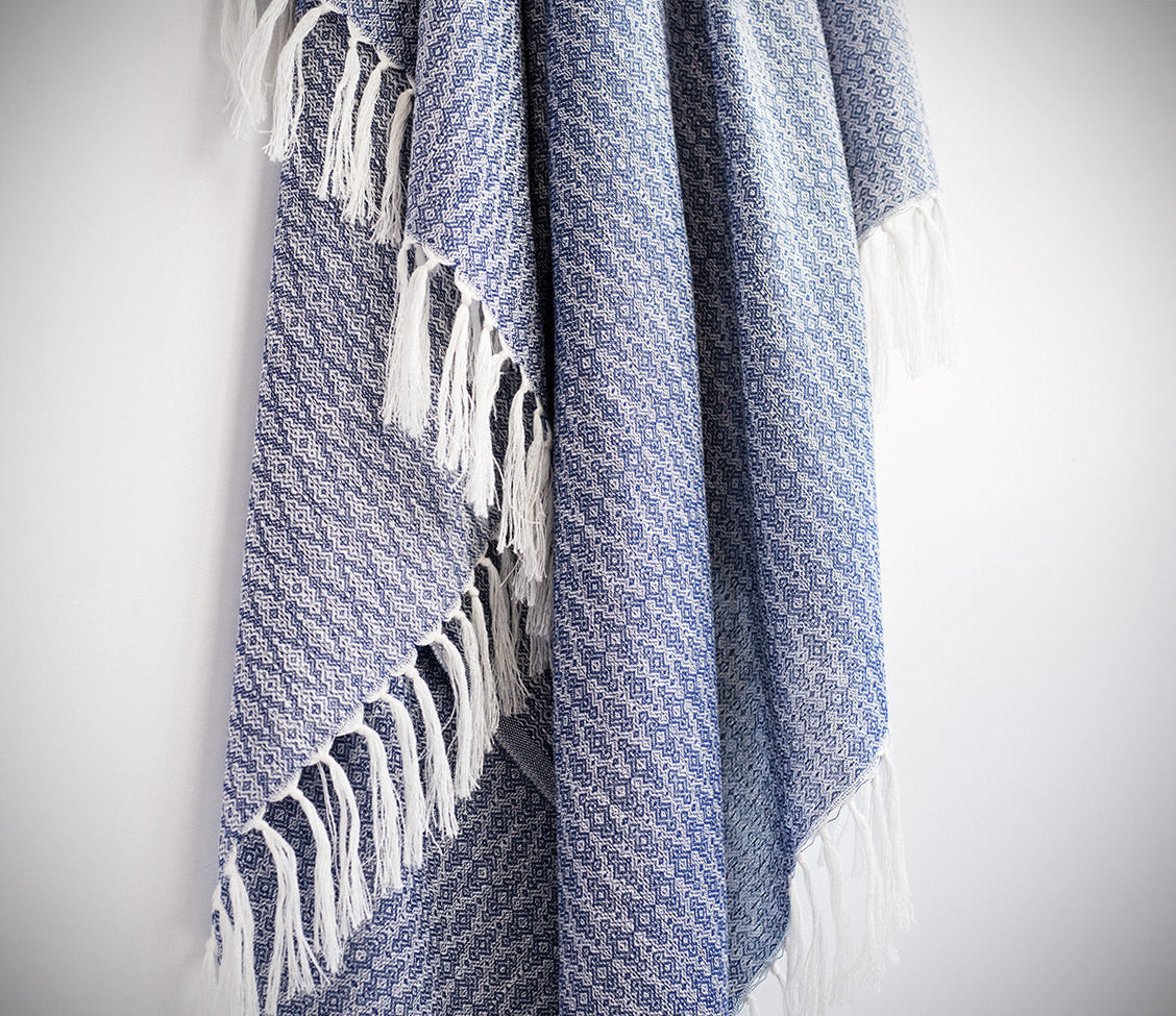 Natural Silk Turkish Towel with Anatolian Motifs in Beige