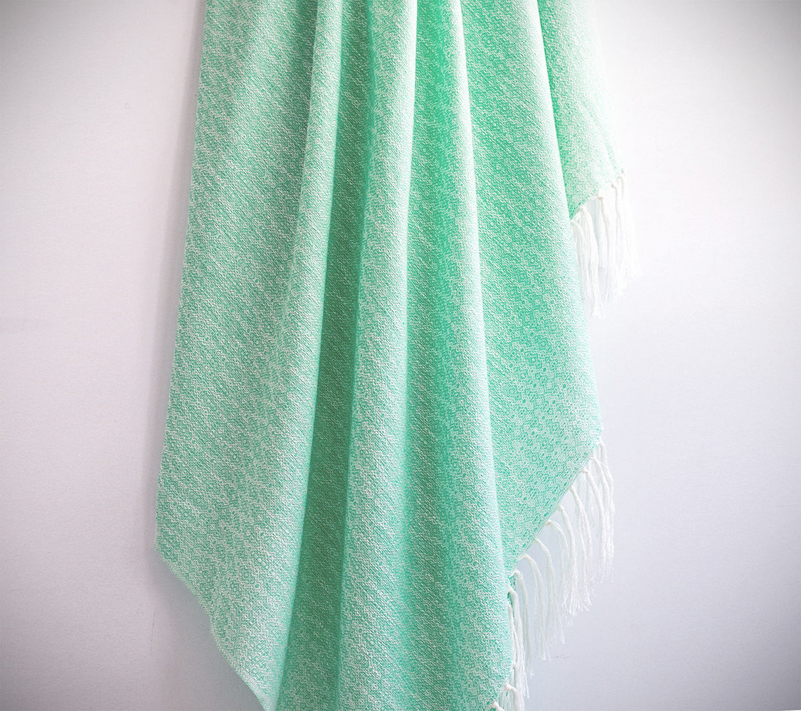 Natural Silk Turkish Towel with Anatolian Motifs in Light Blue