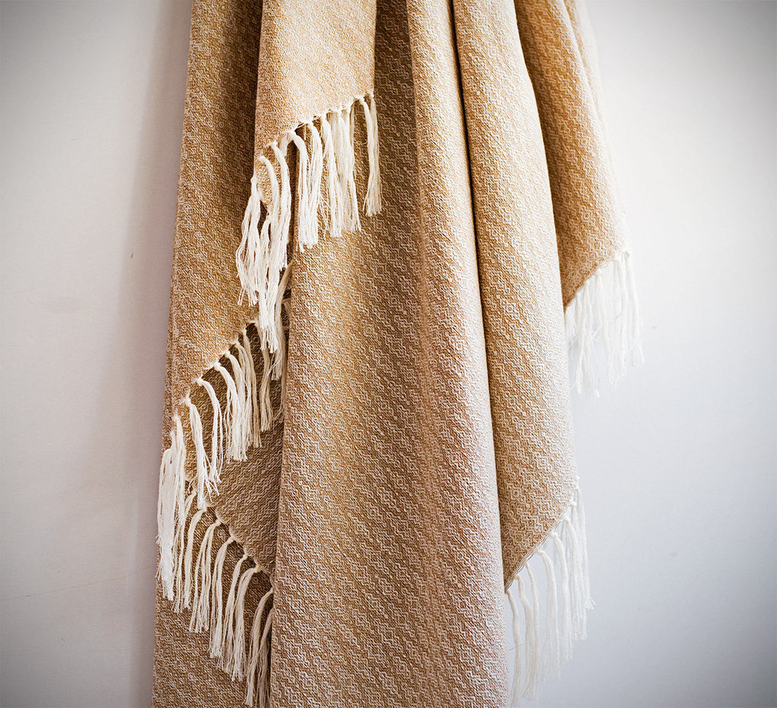 Natural Silk Turkish Towel with Anatolian Motifs in Red