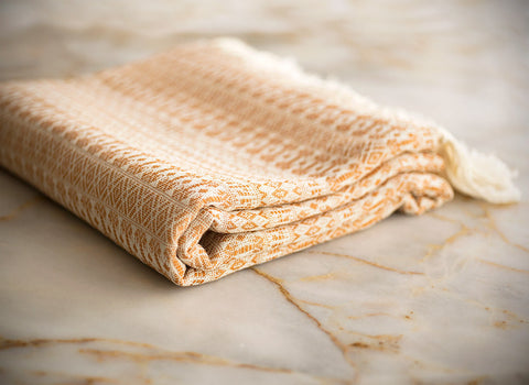 Pure Natural Cotton Turkish Towel with Anatolian Motifs in Sand Beige