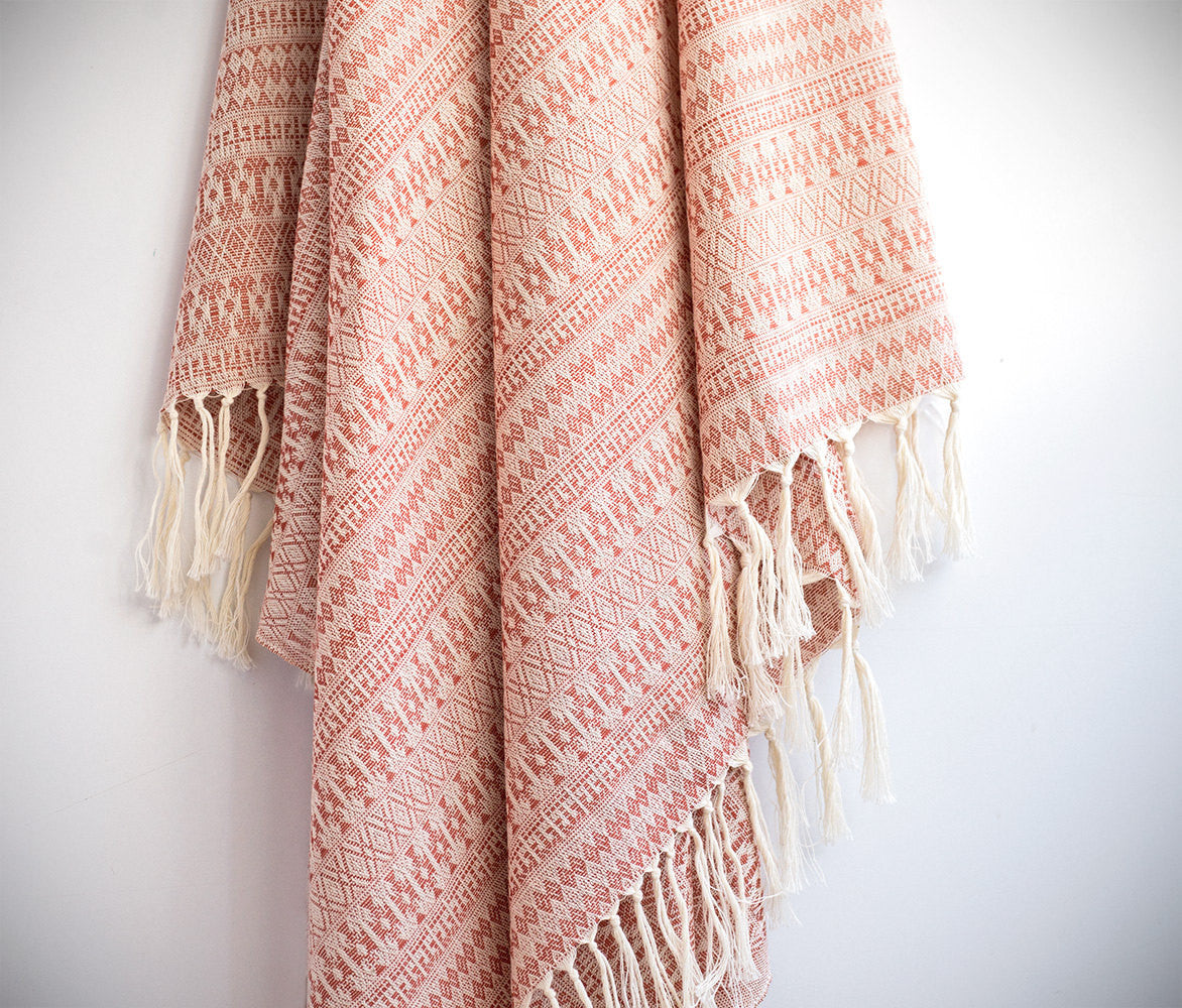 Pure Natural Cotton Turkish Towel with Anatolian Motifs in Coral Red