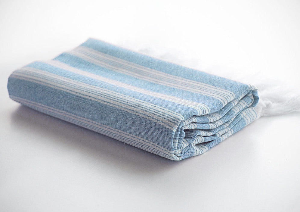 Blue Striped Pure Natural Cotton Turkish Beach Towel with Ultra Thin Fabric