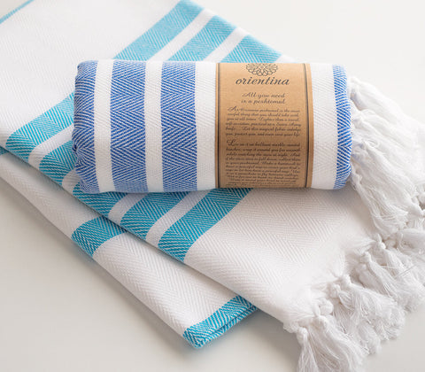 Blue Striped Pure Natural Cotton Thick Turkish Towel