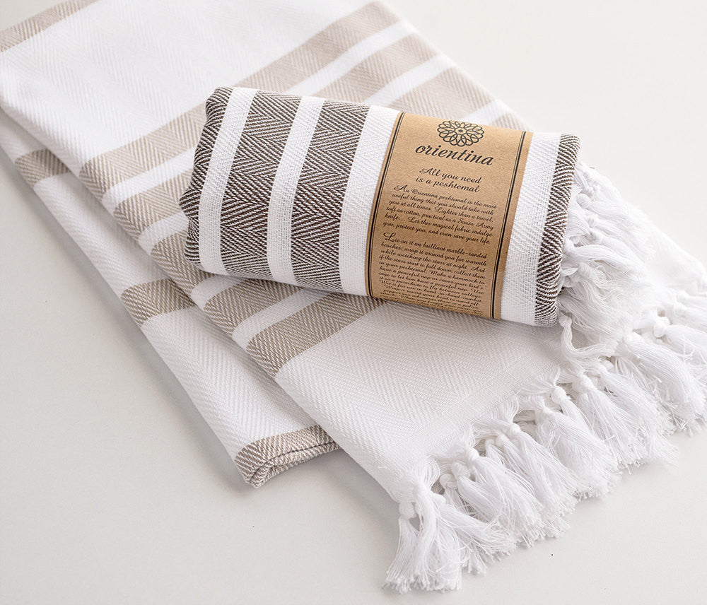 Beige Striped Pure Natural Cotton Thick Turkish Towel