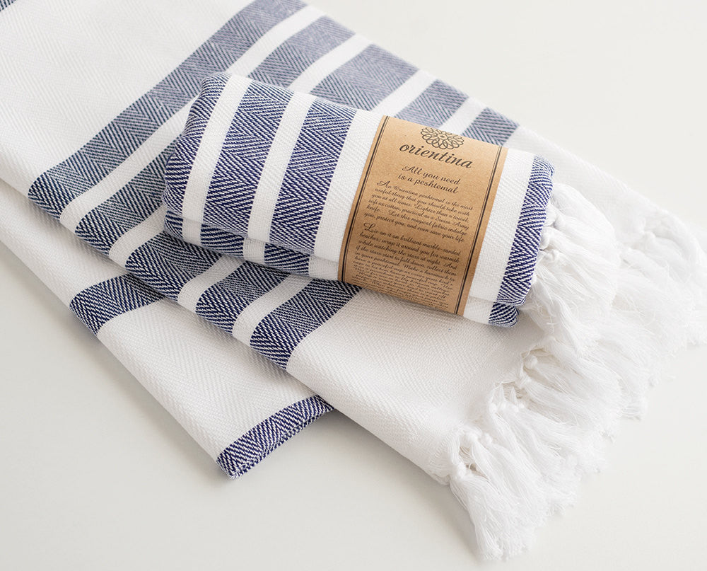 Navy Blue Striped Pure Natural Cotton Thick Turkish Towel