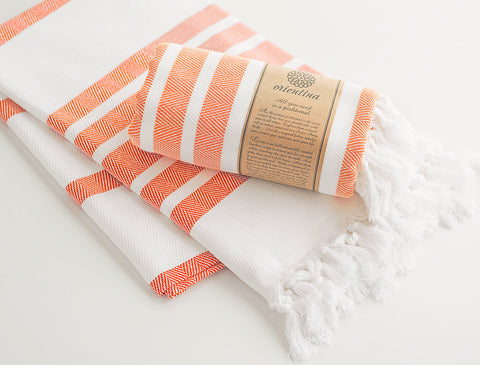 Orange Striped Pure Natural Cotton Thick Turkish Towel