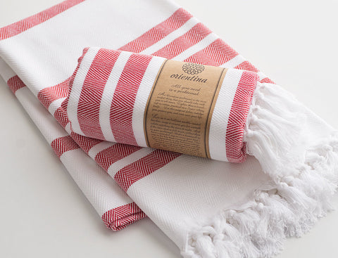 Red Striped Pure Natural Cotton Thick Turkish Towel
