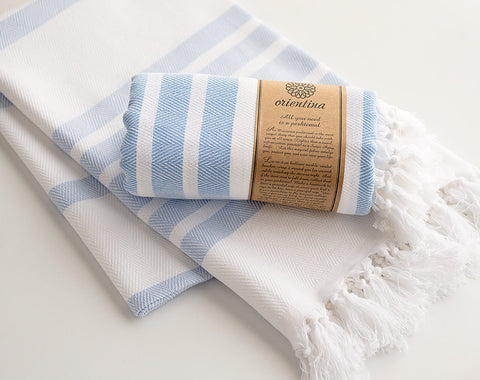 Light Blue Striped Pure Natural Cotton Thick Turkish Towel