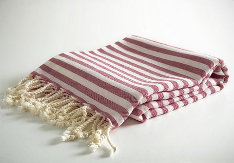 Burgundy Striped Pure Natural Cotton Turkish Towel