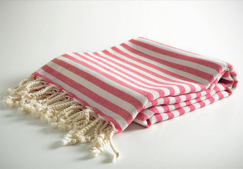 Red Striped Pure Natural Cotton Turkish Towel