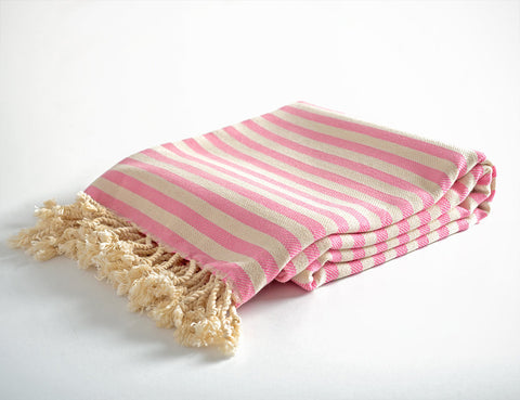 Pink Striped Pure Natural Cotton Turkish Towel