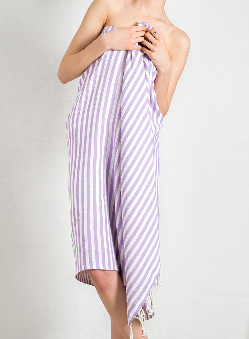 Lavender Striped Pure Natural Cotton Turkish Towel