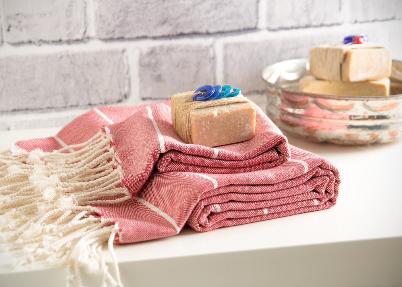 Set of 2 Peshtemal & Peshkir Towels 100% Natural Cotton