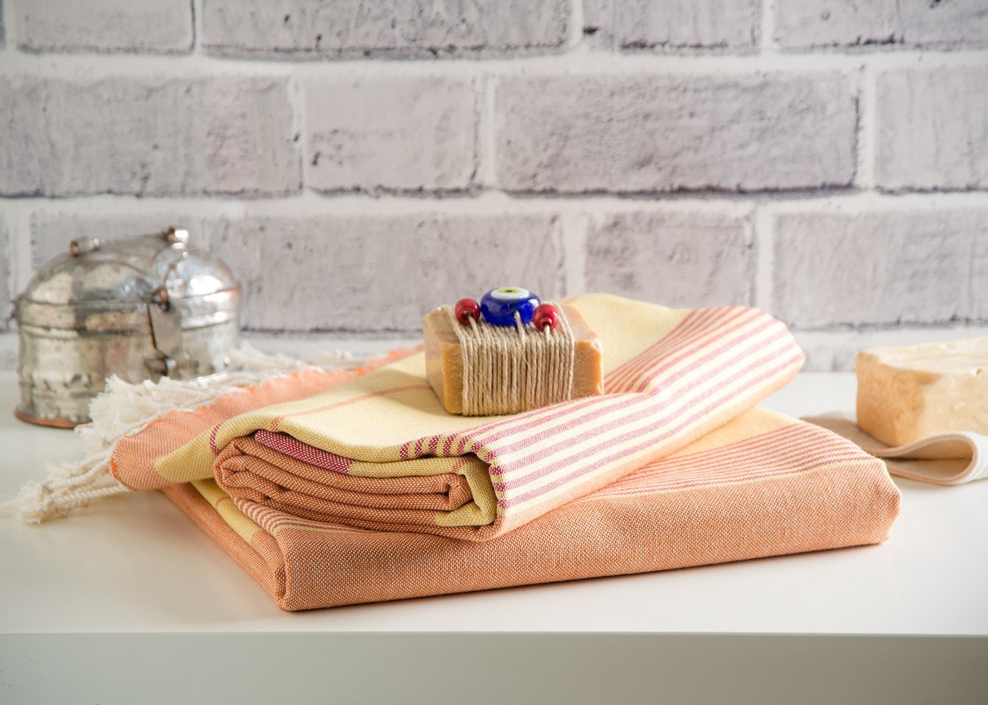 Set of 3 Peshtemal Towels 100% Natural Cotton