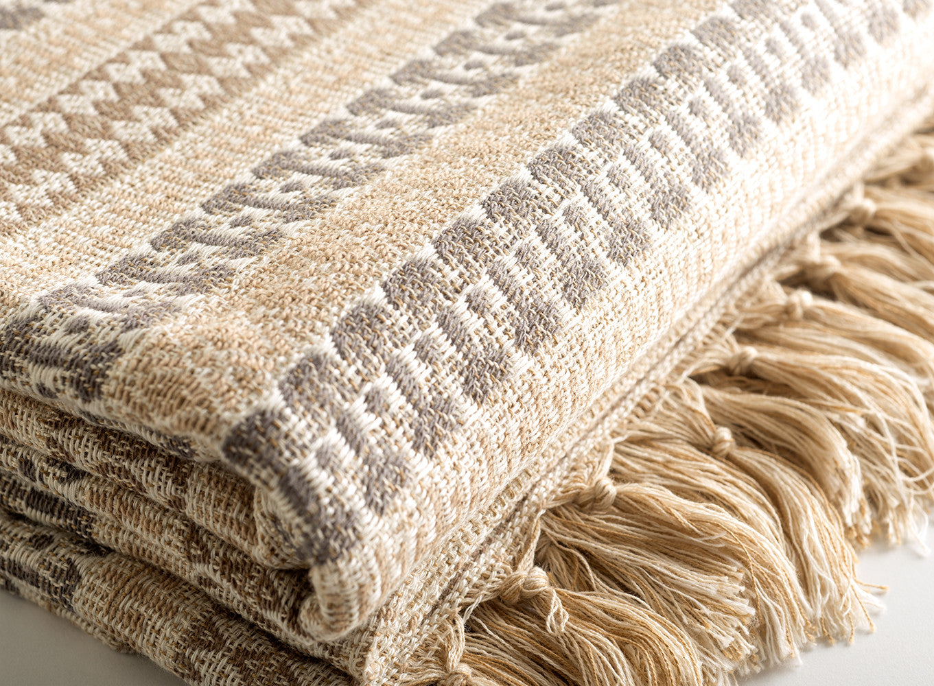 "Linen & Cotton Throw Blanket 98""x79"""