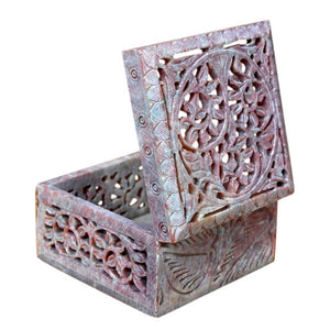 Handcrafted Soapstone Jewelry Box (4x4 Inch)