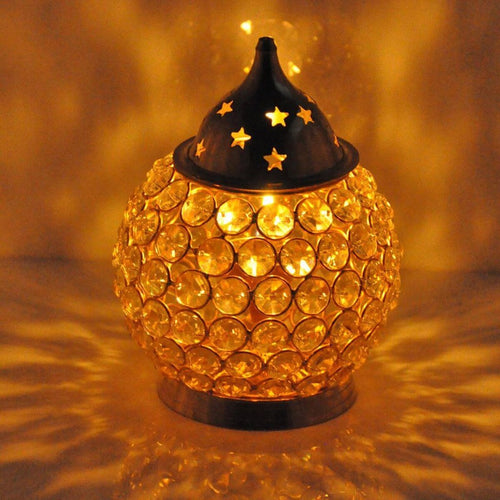 Decorative Crystal Oil Lamp/ Akhand Diya | Large
