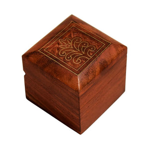 Brass Inlaid Hand Carved Design Wooden Box