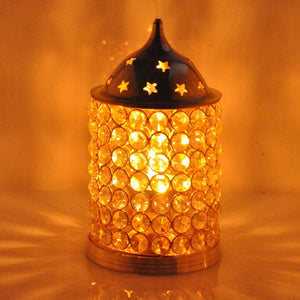 Decorative Akhand Diya Brass Crystal Oil Lamp | Large
