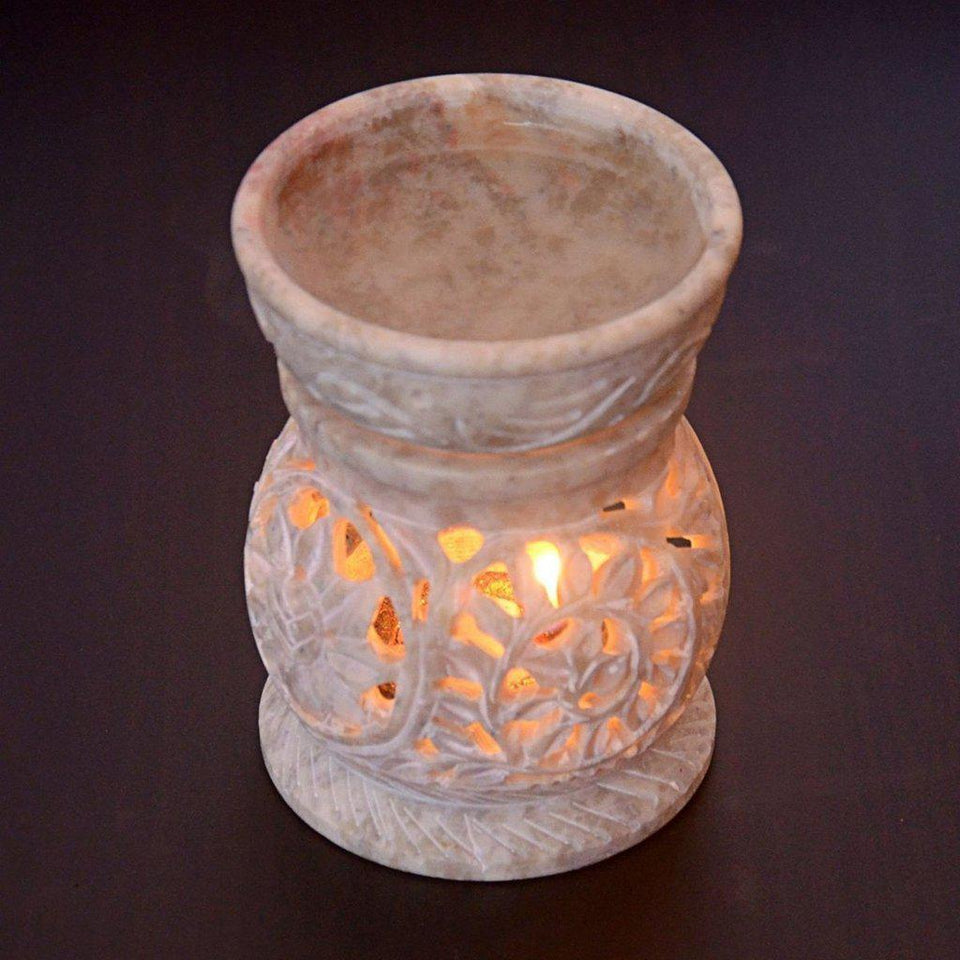 Soapstone Oil Diffuser & Tealight Candle Holder-Tealight Candle Holder-Hashcart