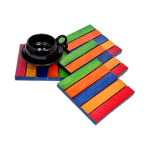 Wooden Colorful Coasters (Set of 4)