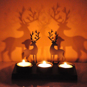 Decorative Deer Shadow Tealight Candle Holder-Tealight Candle Holder-Hashcart