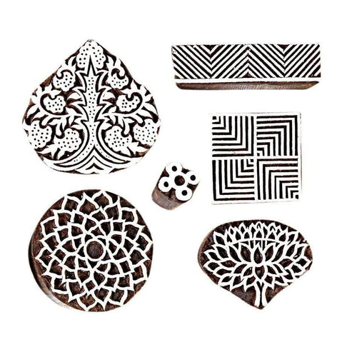 3 Big Size 3 Small Size Wood Printing Stamps - Printing Stamp