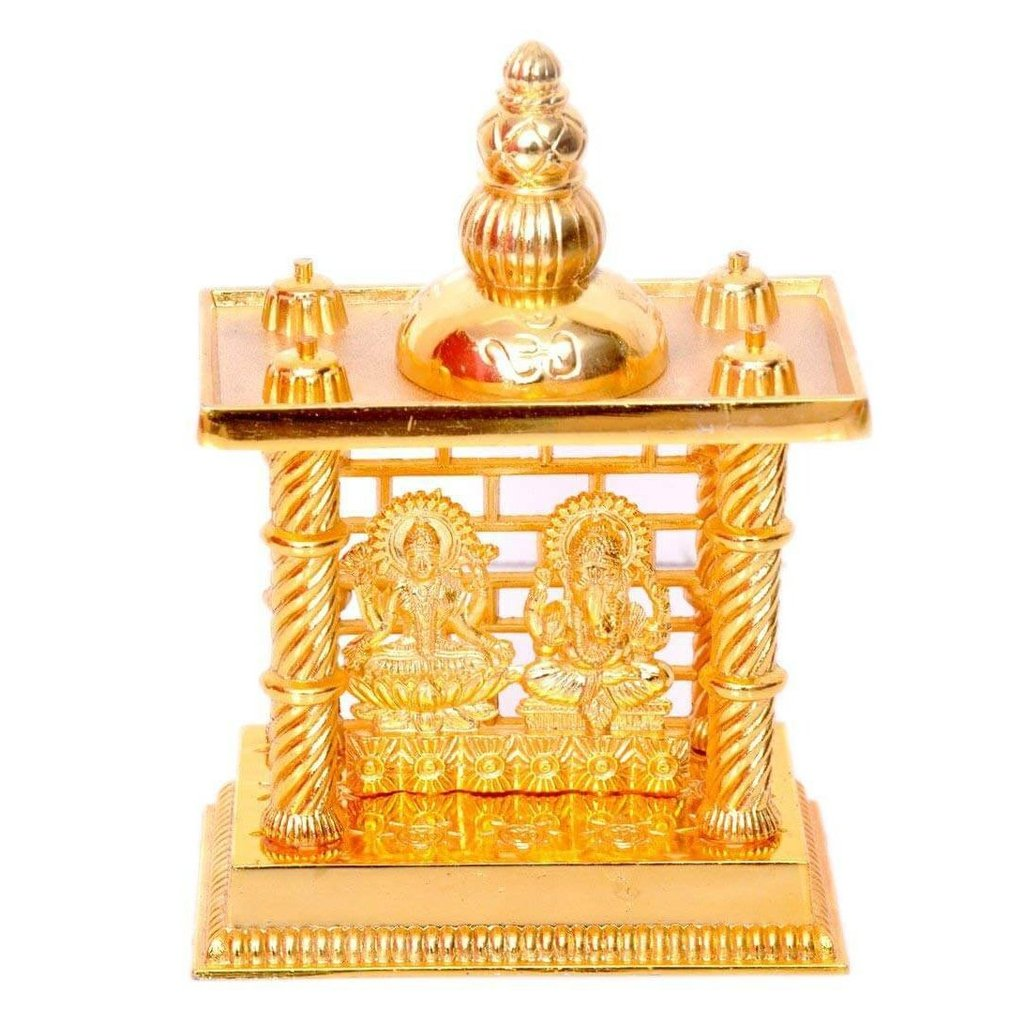 Gold Plated Idol Laxmi Ganesh Mandir (Medium)