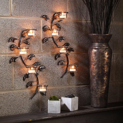 Leaf Candle Tealight Holder Wall Sconce Plaque (Set of 2)-Tealight Candle Holder-Hashcart