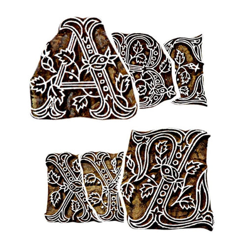 English Alphabets Hand Carved Wooden Printing Stamps | Straight