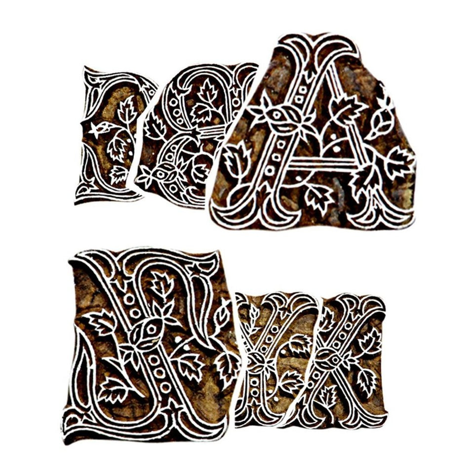 English Alphabets Hand Carved Wooden Printing Stamps | Inverted for Printing