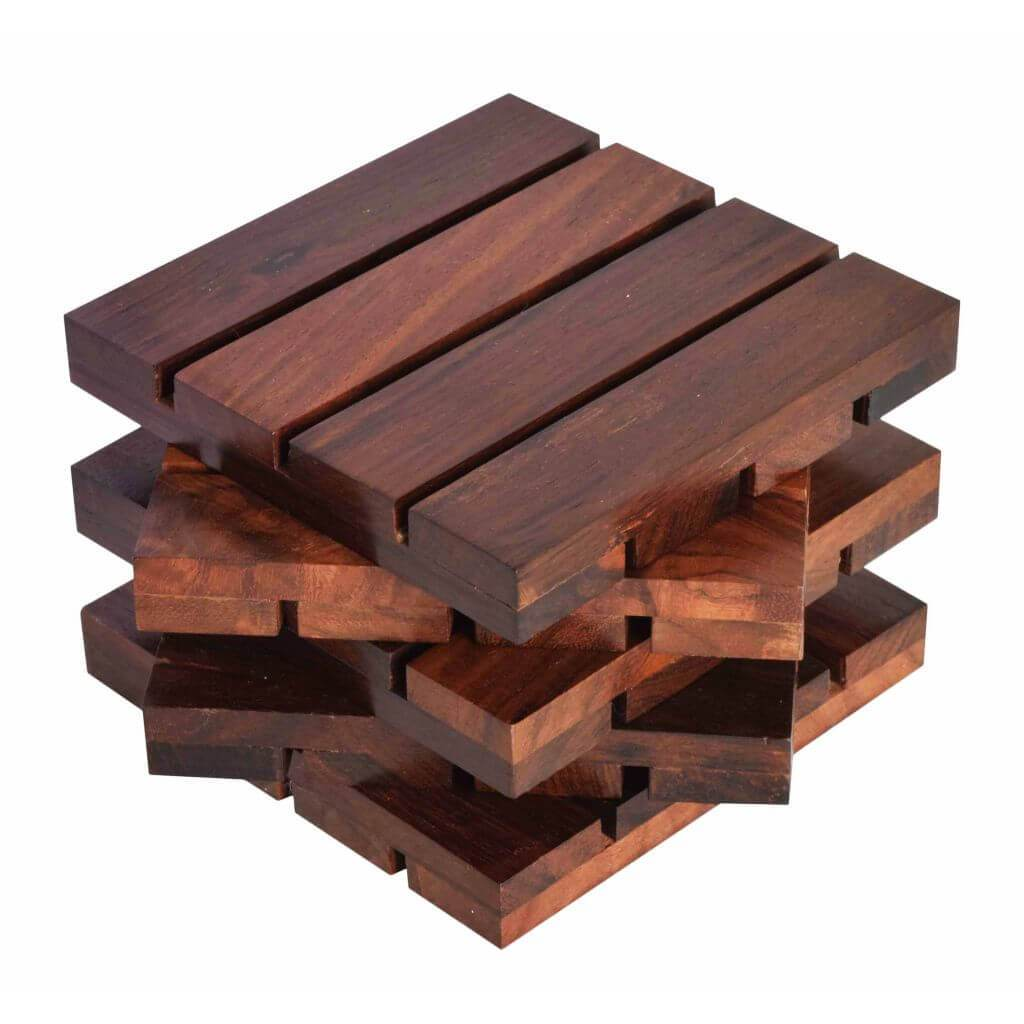 Sheesham Wood Coaster Set | 4x4 inch | Brown