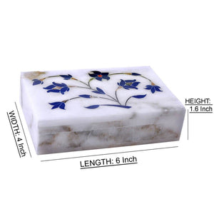 Handpainted Floral Design White Jewellery Box (6x4 Inch)
