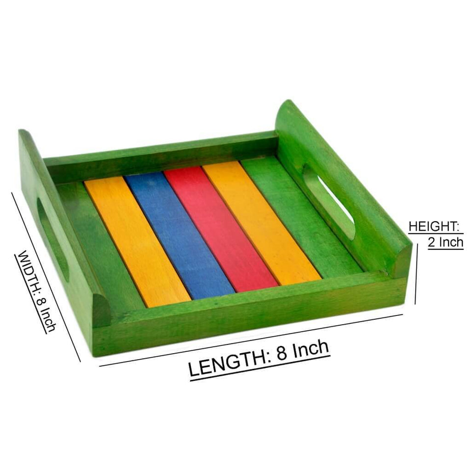 Colorful Wooden Serving Tray (8x8 inch)