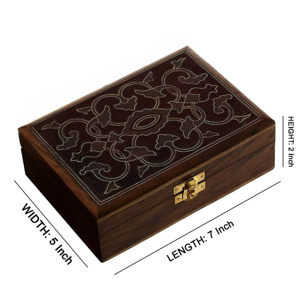 Brass Wire Inlaid Work Wooden Box