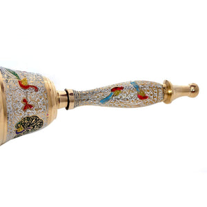 Decorative Hand Held Brass Bell | White Color