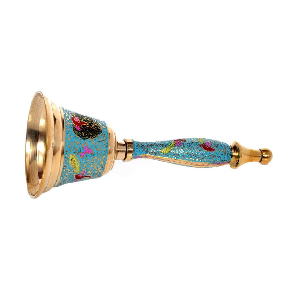 Decorative Hand Held Brass Bell | Blue Color