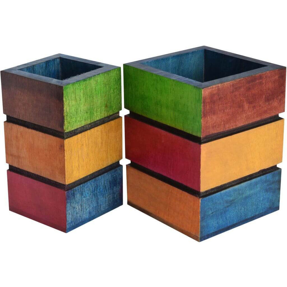 Colourful Wooden Pen Stand / Holder - Set of 2