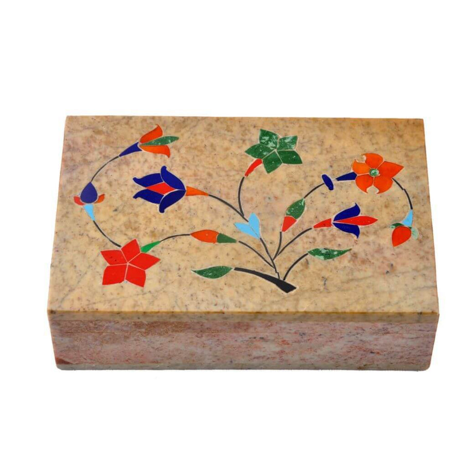 Colorful Marble Hand Painted Jewellery Box (6x4 Inch)