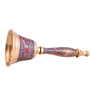 Decorative Hand Held Brass Bell | Purple Color
